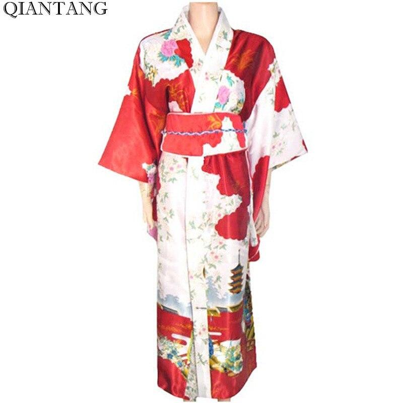 1977 43 De Descuentorojo Vintage Japonés Mujer Kimono Yukata Haori Con Obi Vestido De Noche Traje De Actuación Clásico Asia Ropa Talla única