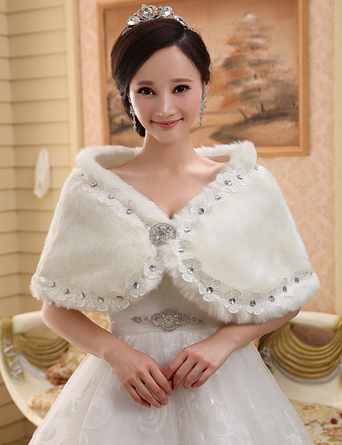 2018 Winter Bridal Fur Wraps Wedding Bolero Jacket Shawl Capes Plus Size Faux