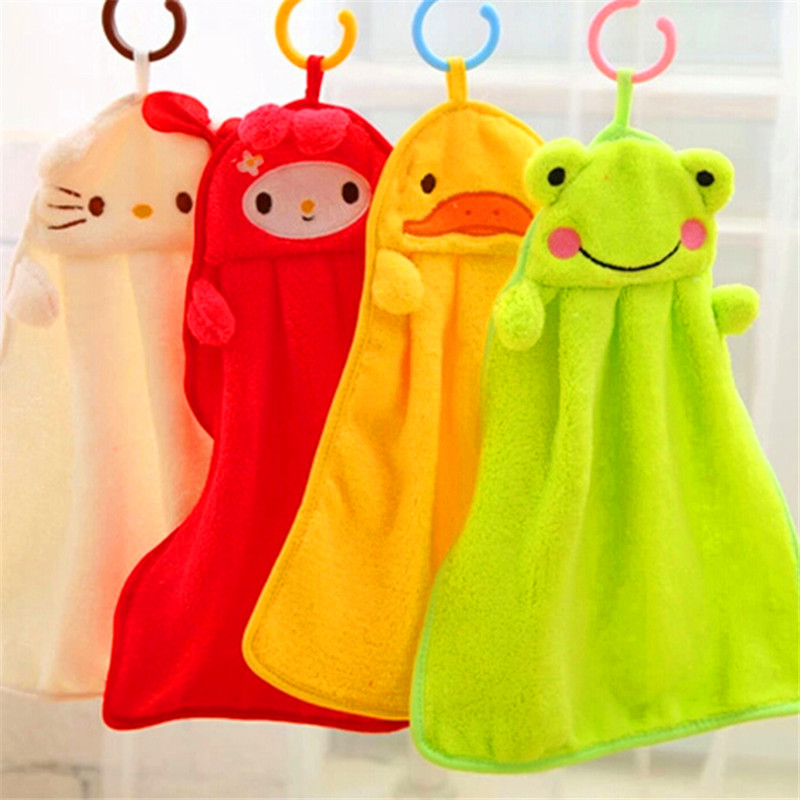 Cartoon Nursery Child Baby Hanging Cleans Plush Bathing Wipe Clothes Dry Towel