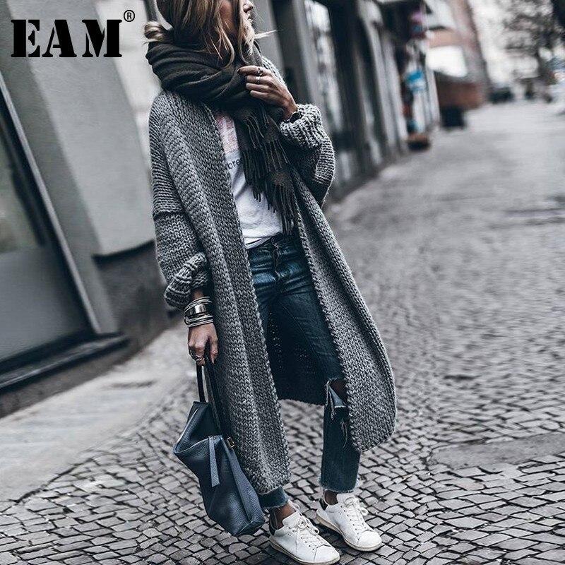 [EAM [2019 новый весенний v-образный вырез с длинным рукавом сплошной цвет бежевый серый теплый утолщенный вязаный свитер Женская мода прилив ...