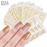 Full Beauty 12pcs Nail Art 3D Mixed Embossed   Sticker   Sets Shinny Gold DIY Self-Adhesive   Decals   Manicure Decorations CHAD201-212