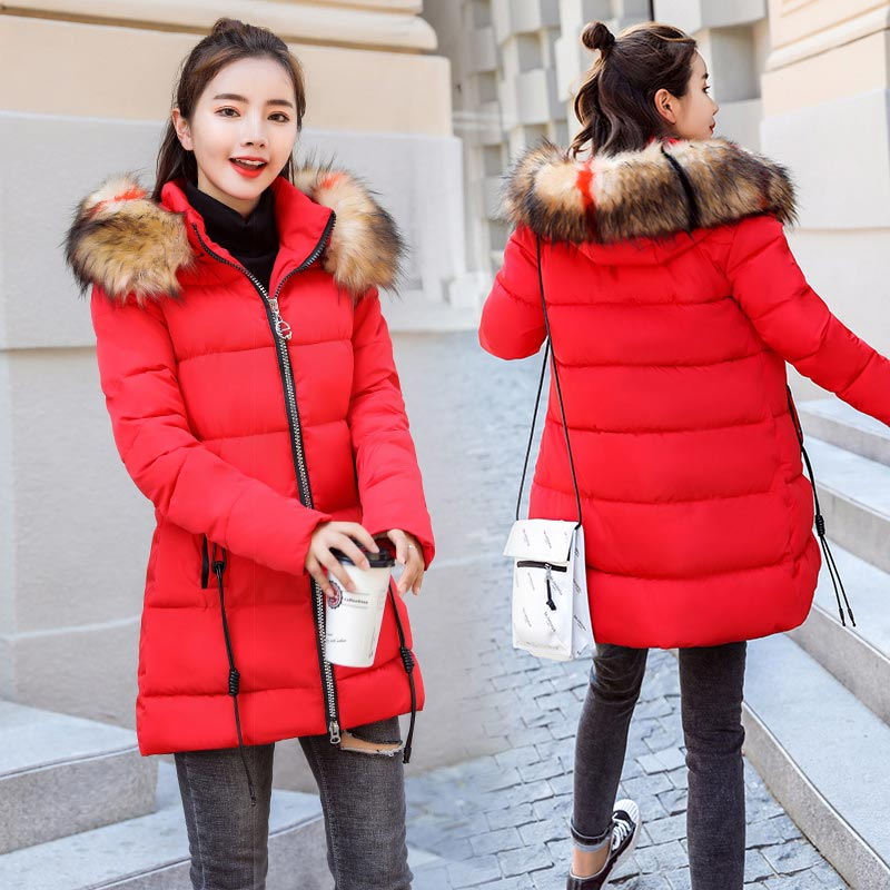 Brieuces 2018 New Fashion Women Winter Jacket With Colored Fur collar Warm Hooded Female Womens Winter Coat Long Parkas Outwear