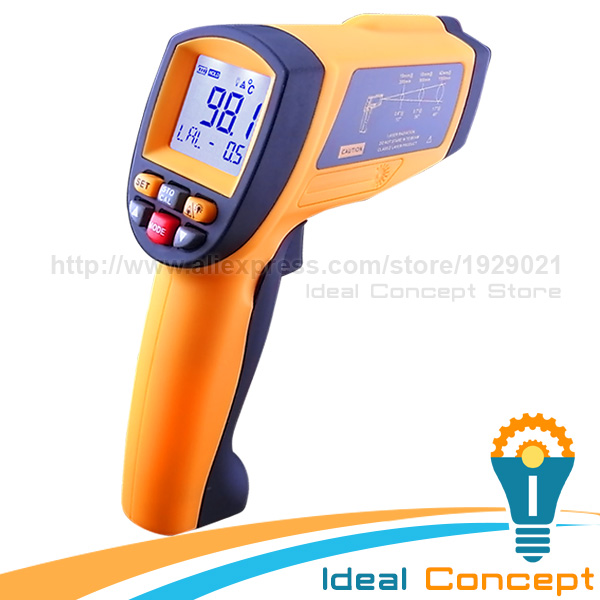 50:1 Infrared IR Laser Thermometer 1150 Degree Celsius Temperature with Memory and Alarm Function
