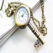 2017  Fashion Pocket Watch Chain Bronze Lovely Vintage Key Design Quartz Key Women necklace Gift Pocket Watch