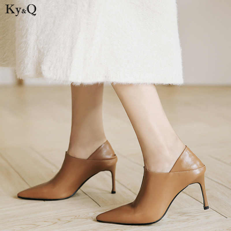 2019 Spring New Ladies Fashion Leather Sexy Pointed Stiletto Bare Boots Two Wear Step With Casual Versatile High Heels 5-8cm2019 Spring New Ladies Fashion Leather Sexy Pointed Stiletto Bare Boots Two Wear Step With Casual Versatile High Heels 5-8cm