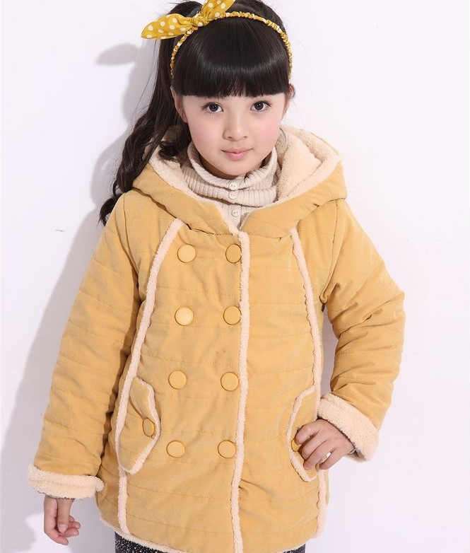 ФОТО Free shipping Winter new arrival girl add hair thickening double-breasted coat hooded outerwear children clothing