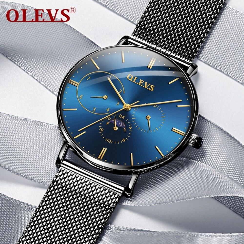 OLEVS Montre hommes relogio masculino Montre-Bracelet des hommes montres top marque de luxe Nouvelle Mode Milan En Acier Étanche Horloge kol saati
