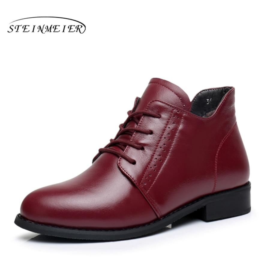 정품 암소 가죽 발목 여성 겨울 플랫 부츠 편안한 품질의 부드러운 신발 브랜드 디자이너 수제 모피 블랙 레드-에서앵클 부츠부터 신발 의  그룹 1