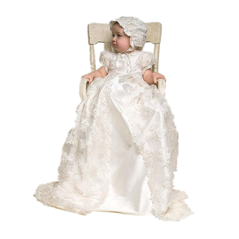 BBWOWLIN Newborn Baby Girl Christening Gowns Dress Lace Super Long Floor-length for 0-2T First Communion Dresses for Girls 70245 bbwowlin white newborn baby girl christening gowns headdress 1 year birthday dress first communion dresses for girls 90138