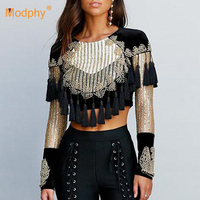 Modphy new fashion 2019 designer shirt women's long sleeve luxury handmade beaded tassel cropped shirt T shirt