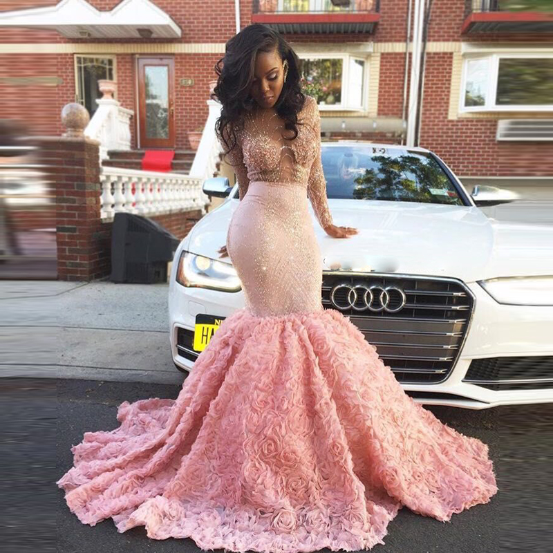 Robe de Soiree African Luxury Mermaid   Prom     Dresses   2017 Sexy Sheer Lace Crystal Rose Ruffles Pink Long Evening Party   Dress