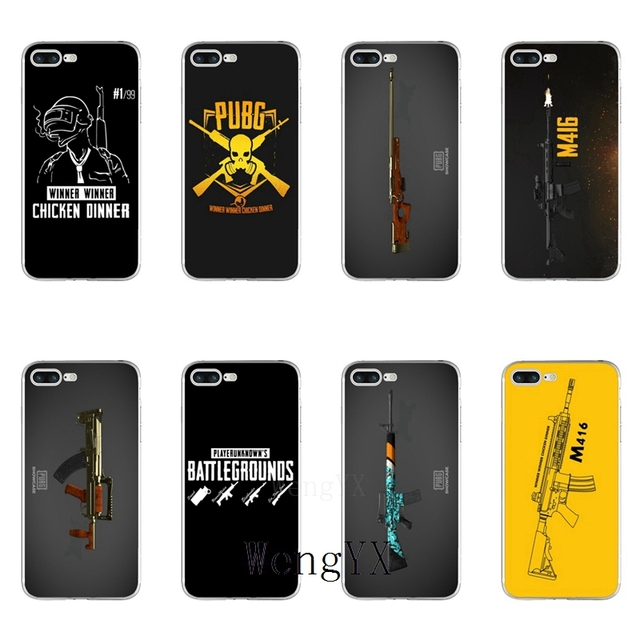 04a2580997 WengYX popular game PUBG gun print Slim silicone Soft phone case For iPhone  X 8 8plus 7 7plus 6 6s plus 5 5s 5c SE 4 4s-in Half-wrapped Case from  Cellphones ...