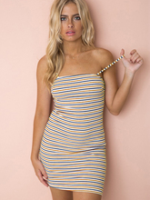 Sexy Lace-up Open Back Fit And Halter Dress Women Summer Spaghetti Strap Stripe Romantic Backless Dresses solid color open back lace up sexy halter denim dress for women