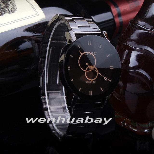 Mens New Design Watches Wrist Watch Fashion Black Round Dial Stainless Steel Band Quartz