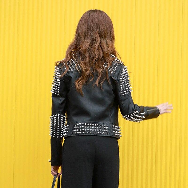 Style Nouvelle Pu Manteau Moto Cuir En Veste Femme Rock Punk Black Jazz 2019 Femmes Rivet Faux Court Automne Printemps Manteaux 0Pxq57Rwf