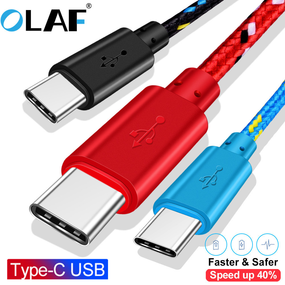 OLAF Type C Cable Nylon Braided USB 1M 2M 3M Data Sync Fast Charging For Samsung S9 S10 Xiaomi Mi9 Mi8 USB C Type C Cable
