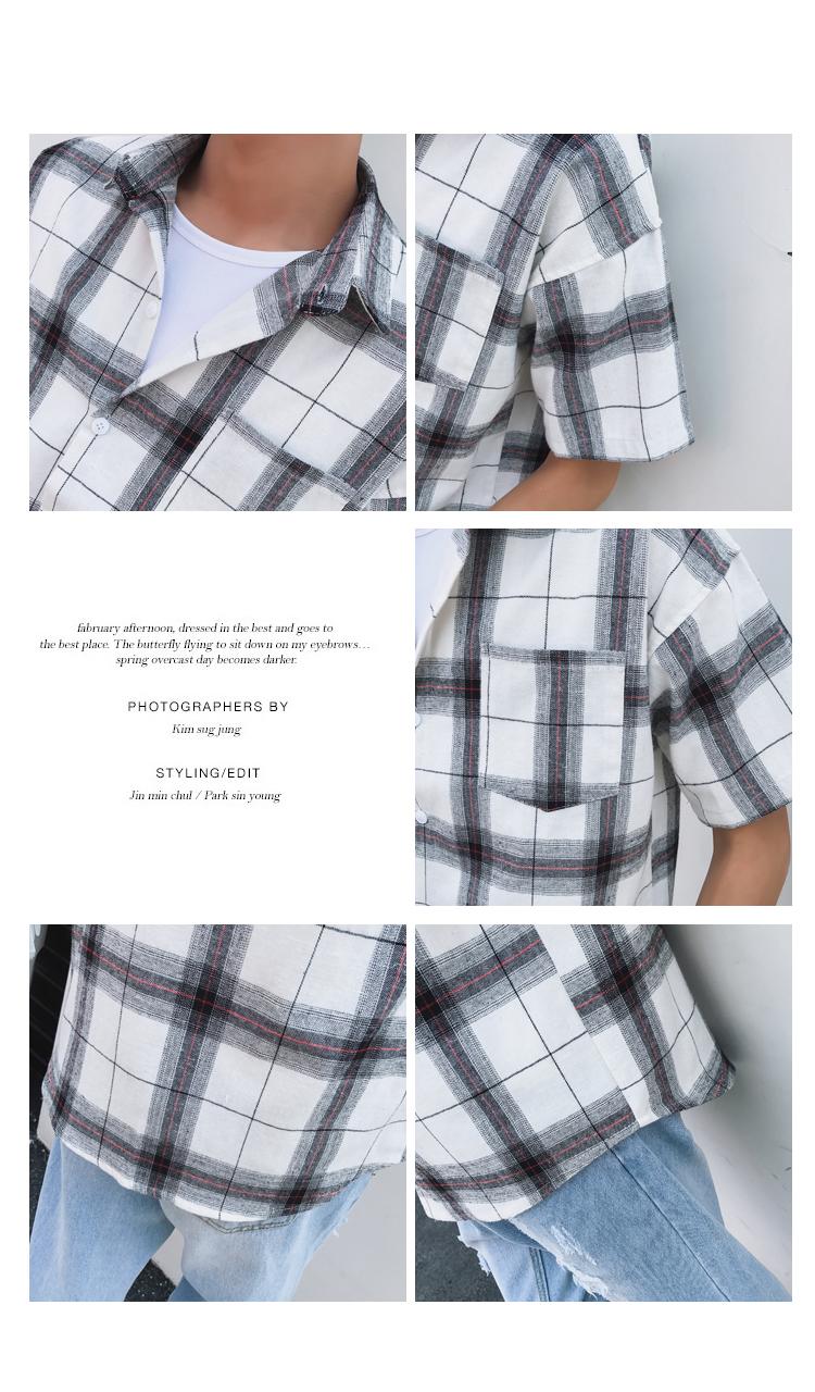 LEGIBLE Men Plaid Short Shirts 2019 Mens Harajuku Streetwear Casual Loose Hip Hop Half Sleeve Shirt Male Fashion 14