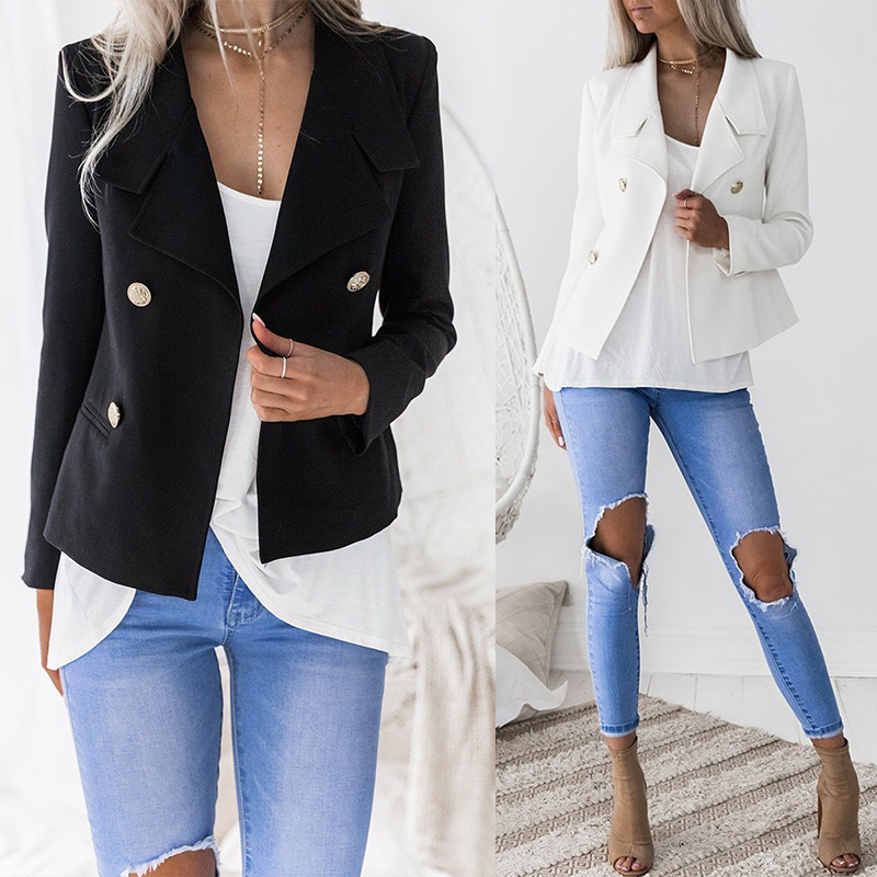 Women Suit 2018 Autumn Blazer Coat Female Long Sleeve Button Lapel Collared Jackets Ladies Double Breasted Blazer OL Outwears