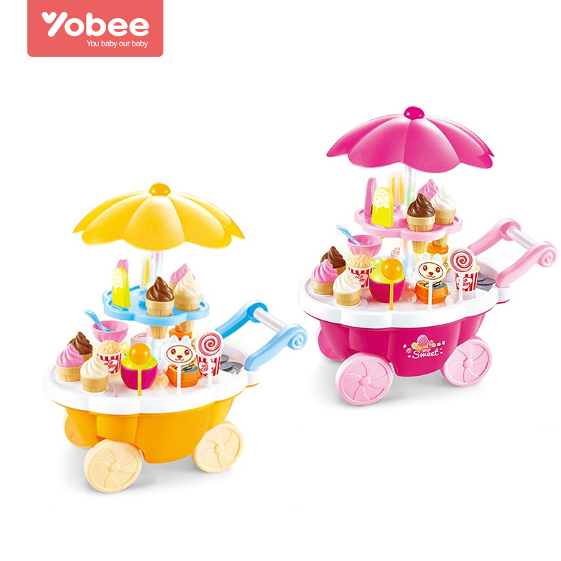 Children Candy Shopping Cart Kitchen Pretend Play Toy Plastic Ice Cream Lollipops Food Toy Set for Kids Gift New by Yobee