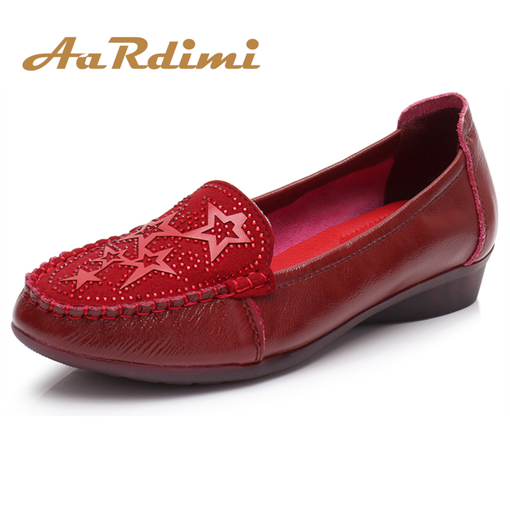 AARDIMI 2018 Genuine Leather Woman Shoes Office & Career Comfortable Mother Flats Shoes Slip-On Spring/Summer Crystal Shoes aardimi 100% cow leather oxford shoes for woman spring