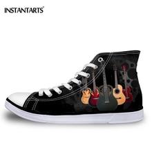 INSTANTARTS Men's High Top Vulcanize Shoes Man Boy Hip Top Rock Guitar Casual Canvas Shoes Fashion Men Casual Lace Up Flat Shoes