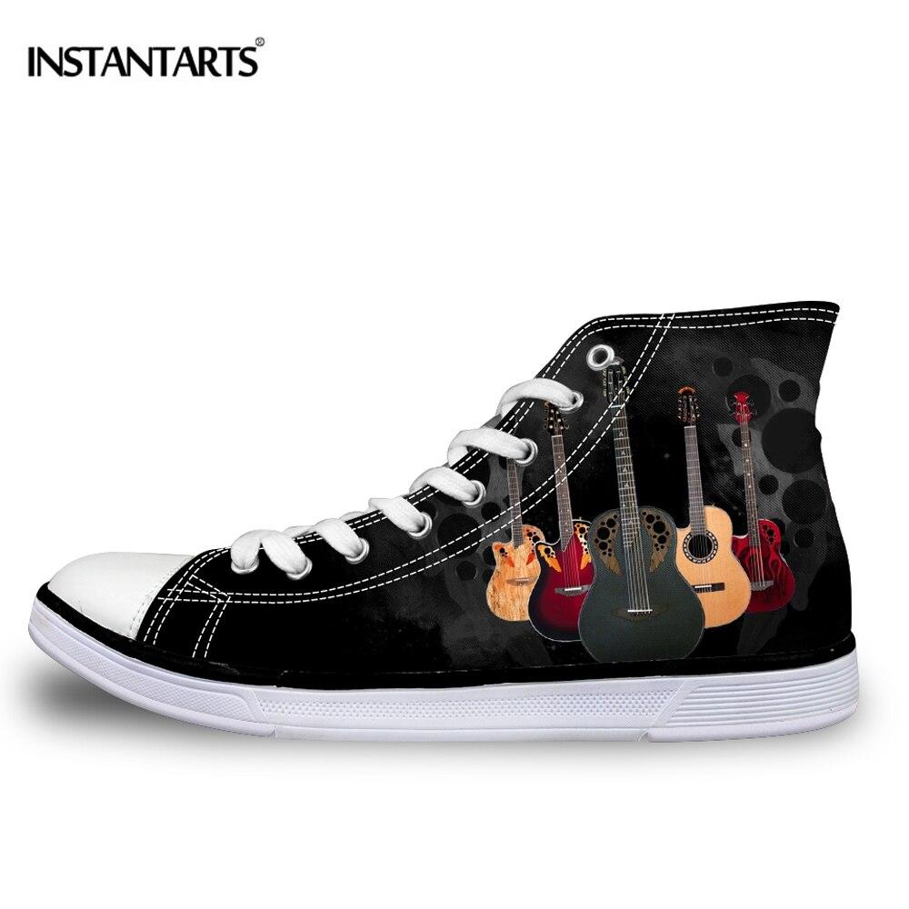 Sapatos de Lona Rendas até Sapatos Instantarts Homem Alta Superior Vulcanize Sapatos Meninos Hip Top Rock Guitarra Clássico Moda Masculina Planos Masculinos