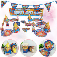 6 Persone Famiglia Festa di Compleanno Monouso Partito Set Da Tavola Del Fumetto Superman Theme Party Decoration Supplies(China)