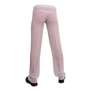 Image 4 - ผู้ชายเซ็กซี่ชีฟอง Sheer ดูผ่านหลวม Fit กางเกงขาตรงชุดนอน Breathable Sleep Bottoms Man ความยาวเต็มกางเกง