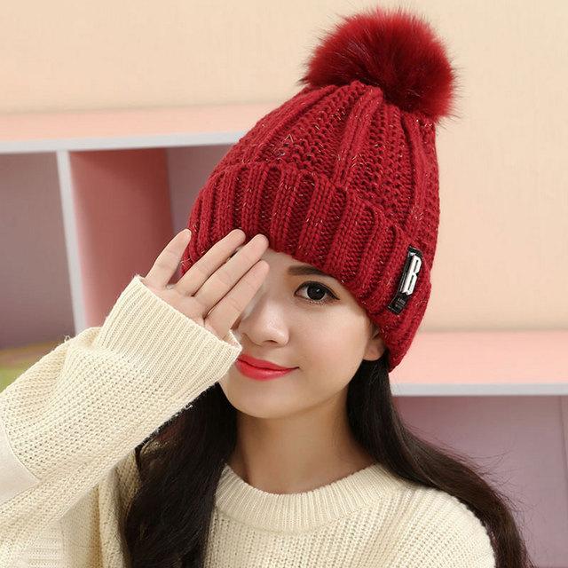 Chapéus de inverno para Mulheres De Malha Chapéus de Acrílico Misturar Cores Bola De Pêlo Pompom Skullies E Gorros Caps Gorro Feminino WL-066