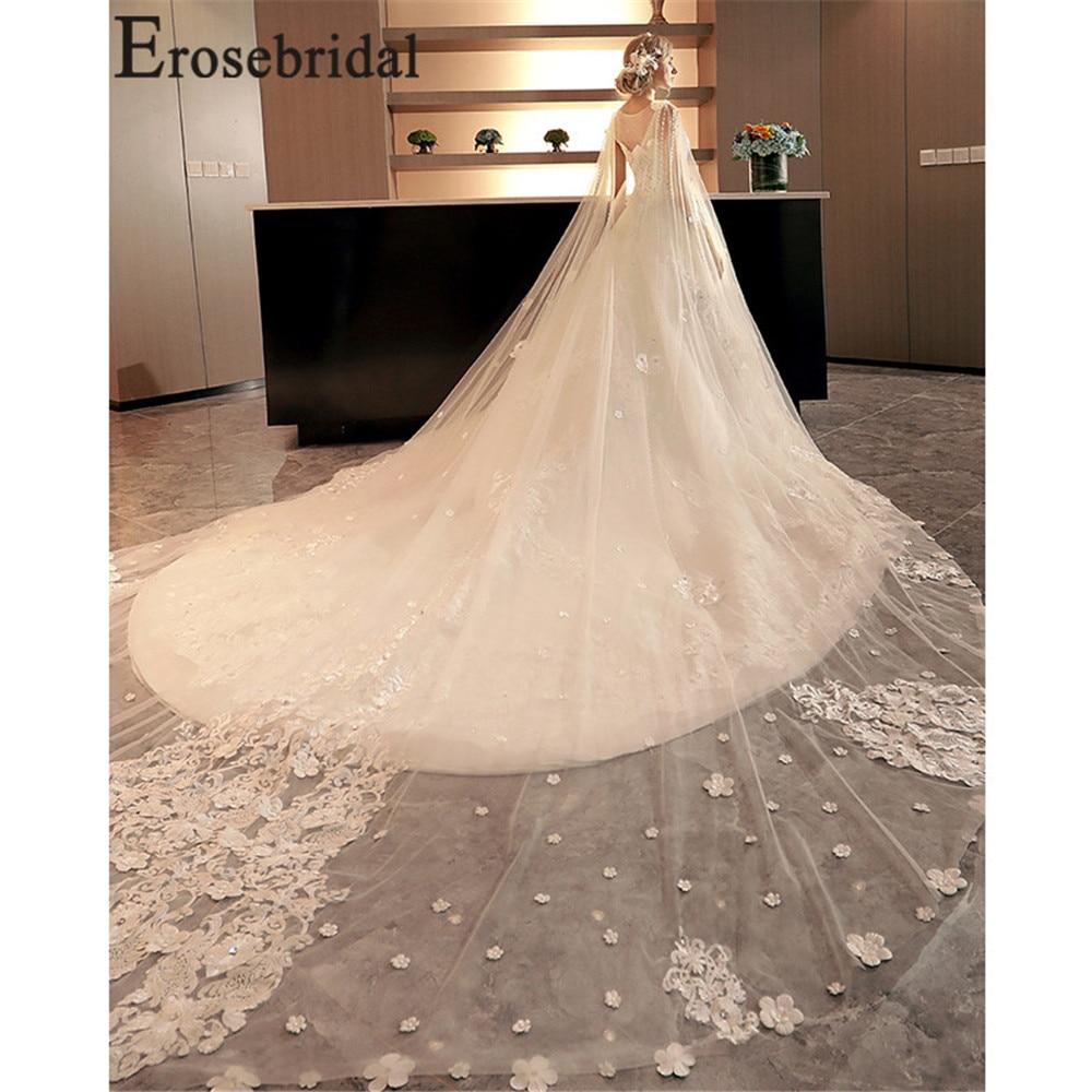 Erosebridal New Arrival Detachable Shoulder Yarn Wedding Dresses 2019 Tulle Wedding Gowns A Line Women Bridal Dress Mariage in Wedding Dresses from Weddings Events
