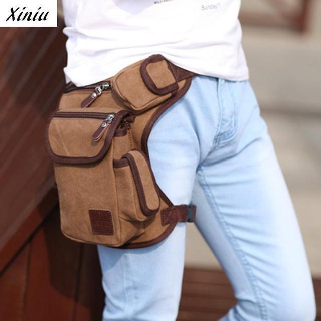 Xiniu Multifuncional Saco Da Cintura Dos Homens Saco Da Forma Saco de Lona Bolsa de Perna Ajustável Cinto de Dinheiro #2132