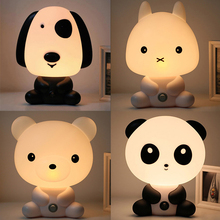 EU/ US Plug Baby Bedroom Lamps Night Light Cartoon Pets Rabbit Panda  Sleep Led Kid Lamp Bulb Table Lamp For Children Gifts