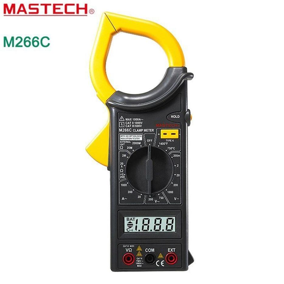 MASTECH M266C Digital Clamp Meter Voltmeter Ohmmeter ACVoltage AC Strom Widerstand Temp Tester Detektor mit Diode multimeter