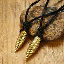 Stainless Steel Gold Bullet Shaped Necklace with Fingermark Design Black Cord