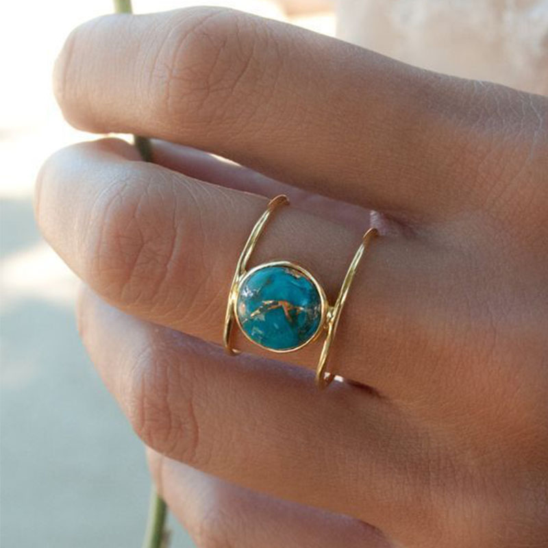 Turquoises Rings Jewelry Silver Titanium Antique Blue Vintage Double-Layer Natural Women