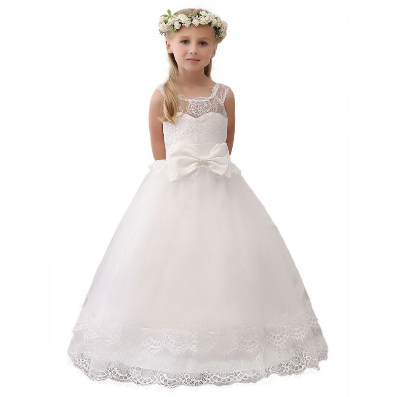 White Flower Girls Dresses For Wedding Gowns Fashion Girl Birthday Dress Ball Gown Girls Clothes Lace Mother Daughter Dressess