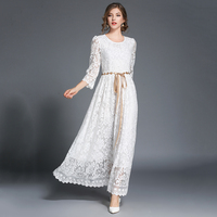Outono Branco Maxi Vestidos Das Mulheres Escavar Cordão Laço Longo Vestido Feminino Cintura Alta Plus Size Vestidos Longo W/caixilhos N613C