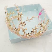 Korean bride pink crown wedding crown crown ornaments wedding dress hair accessories  0372