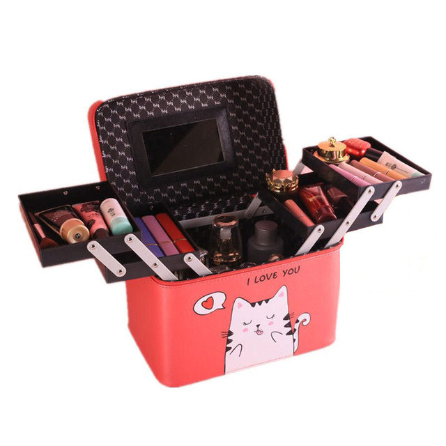 Fashion Women Portable Cosmetic Beauty Case Large Capacity Professional Makeup Pretty Suitcase Multilayer Make Up Toiletry Bag