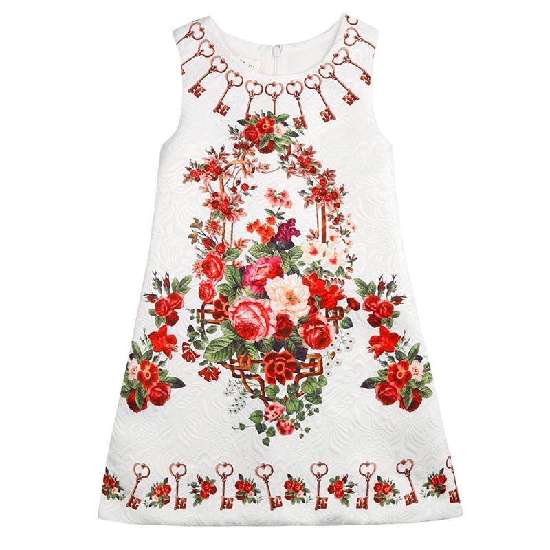 Bongawan 2018 European Style Summer Girl Dress Sleeveless Floral Kids Dresses For Girls Wedding And Party Dress 3-10T bongawan 2018 new autumn