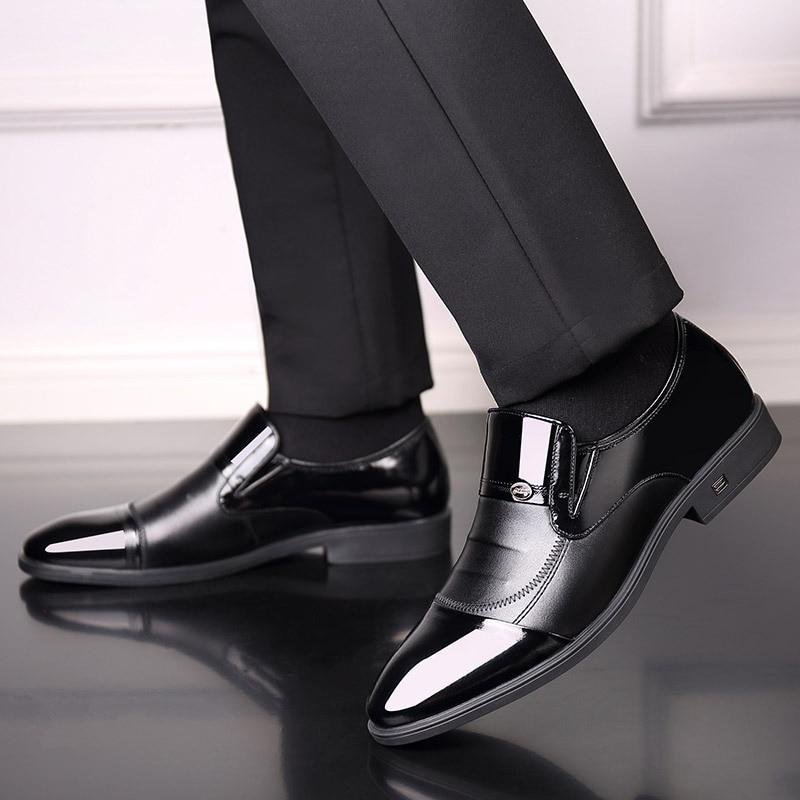 Jeune Cuir Laque De Hommes Sharp Chaussures Noir En Robe D'affaires Britannique PFx8AqwT