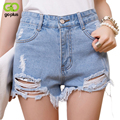 GOPLUS 2017 High Waist Ripped Denim Shorts Women Summer Style Jeans Shorts Feminino Summershort Trousers for Woman C1076