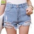 Goplus 2017 cintura alta shorts jeans rasgado mulheres estilo verão shorts jeans feminino calças para mulher summershort c1076