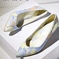 Новый женская обувь Тонкие Каблуки Острым Носом Зрелых туфли на высоких каблуках весна и Осень Туфли-Элегантные насосы для женщин большого размера 34-43