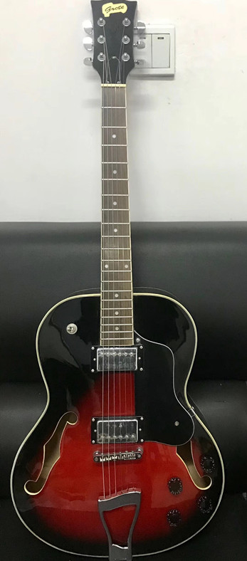 2019 New + Factory + Non-cutaway Electric Jazz Guitar Half Hollow Body Dark Red Sunburst Electric Jazz Guitar Free Shipping Jazz