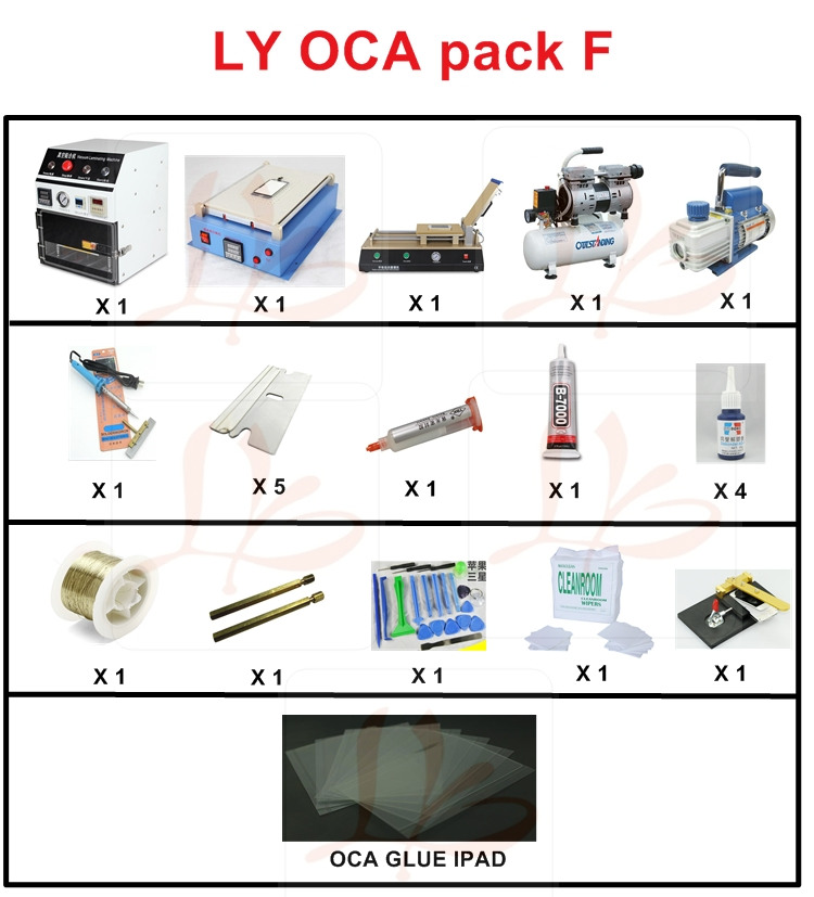 Russia no tax Full set OCA laminating machine 958 ipad lcd separator with accessoreis for mobile lcd refurbishment ...