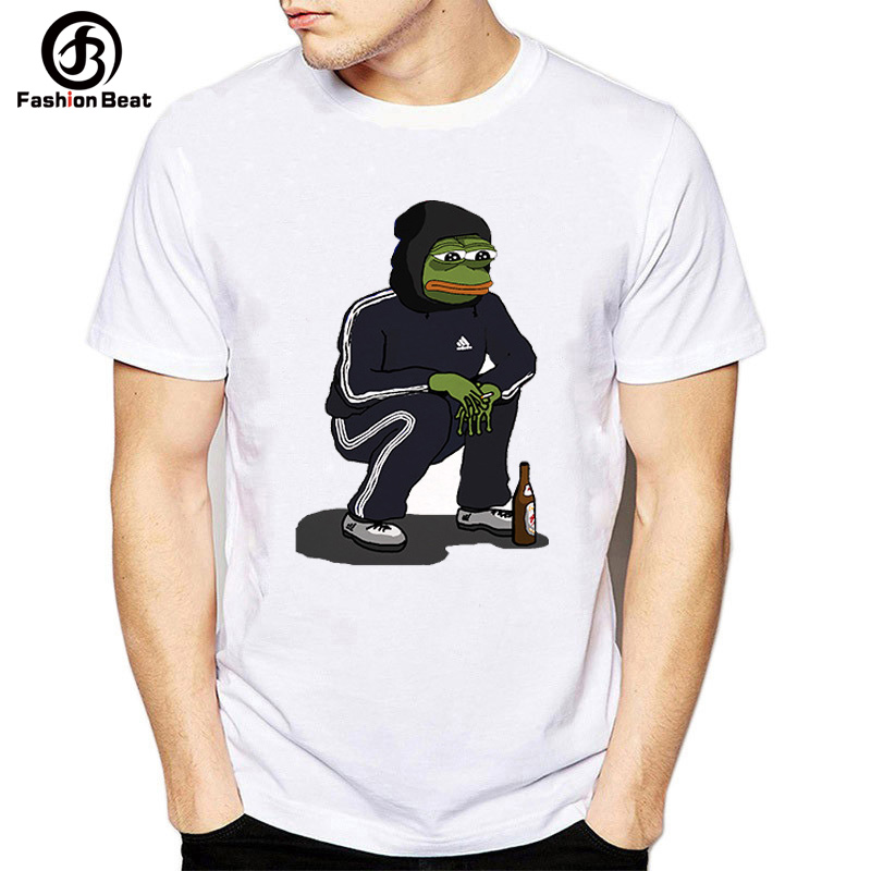 Animal T Shirt Men Funny Pepe Frog T Shirt 2018 Cartoon Printed Casual T-shirt Comfort White Round Neck Tees Femme Homme