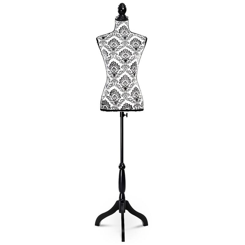 Mannequin femme forme torse affichage avec trépied support flanelle dentelle styromousse pin bois Mannequins HW50080