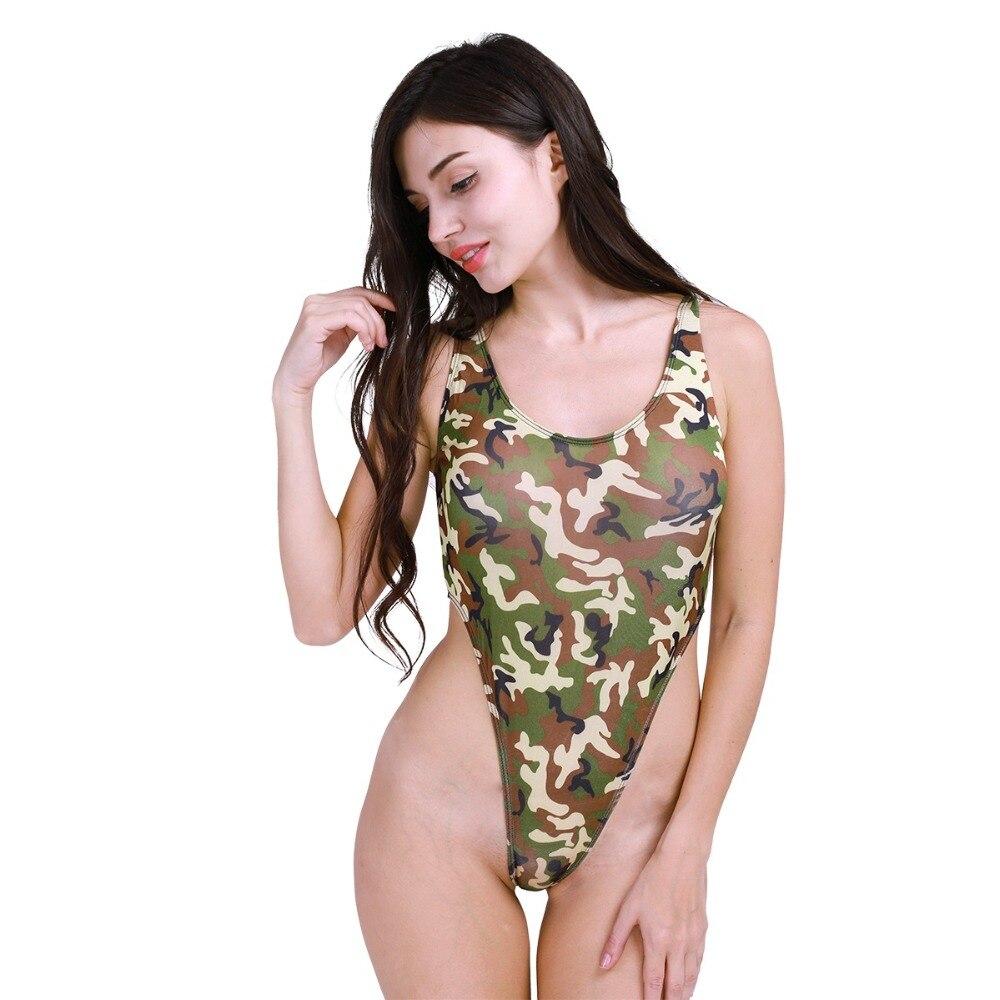Womens Camouflage Print Sleeveless Racer Back Bodysuit Ladies Army Leotard Top