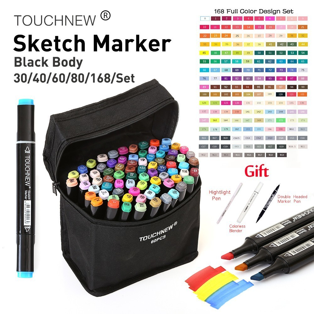 TouchNew 30/40/60/80/168Colors Pen Marker Set Dual Head Sketch Markers Brush Pen For Draw Manga Animation Design Art Supplies touchnew 30 40 60 80 168colors pen marker set dual head sketch markers brush pen for draw manga animation design art supplies